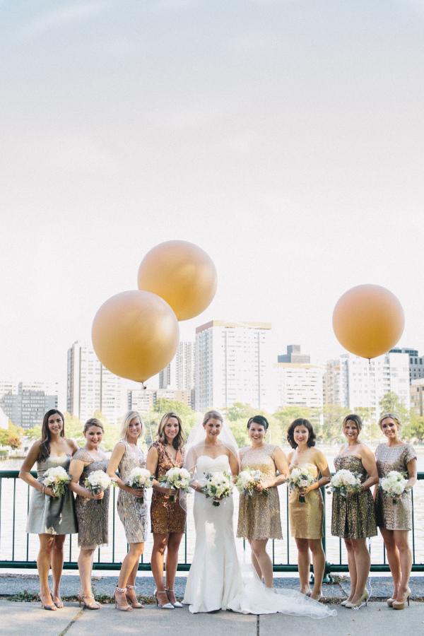 Metallic Bridesmaids Dresses