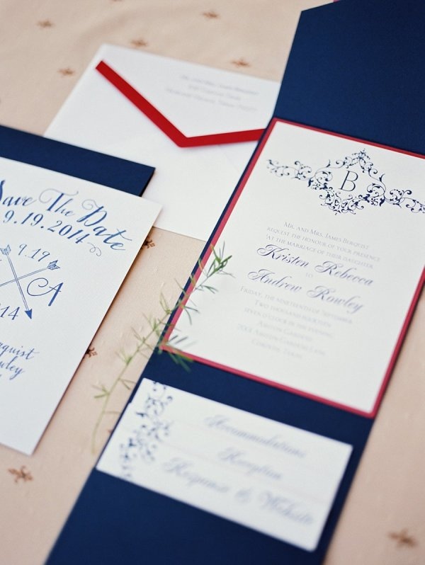 Navy and Red Wedding Invitations