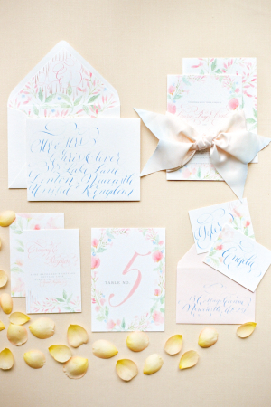 Pastel Blue and Pink Wedding Invitations