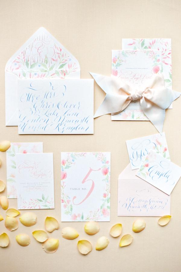 pastel blue and pink wedding invitations elizabeth anne designs
