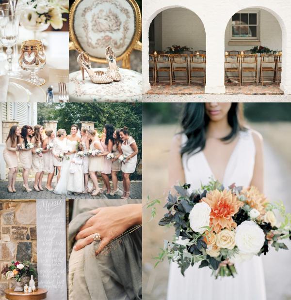 Peach Gray Gold Fall Wedding