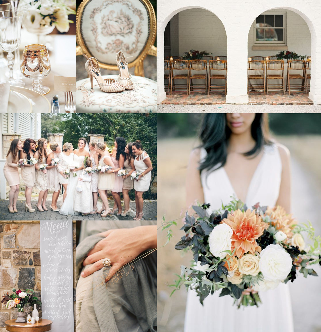 Wedding Ideas And Inspirations: Peach, Gold + Dove Fall Wedding Inspiration