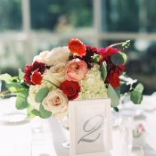 Pink Red and Ivory Centerpiece