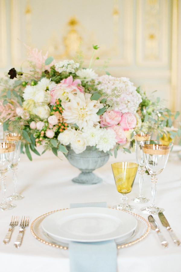 Pink and blue wedding centerpiece by bo boutique flowers
