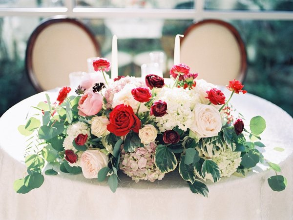 Red Garnet and Ivory Flowers