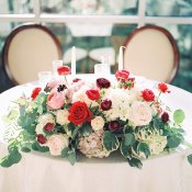 Sweetheart Table with Red and White Flowers