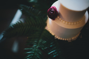 Wedding Cake on Greenery