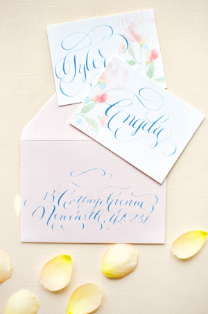 Wedding Invitations with Blue Calligraphy