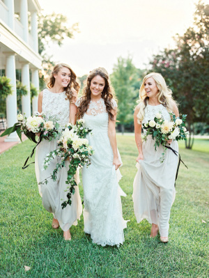 southern wedding silver bridesmaid dresses