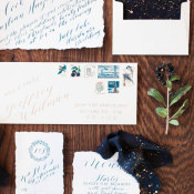 Blue Holiday Wedding Invitations