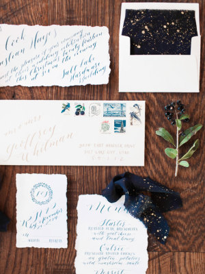 Blue Holiday Wedding Invitations