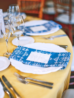 Blue Napkins on Yellow Linens