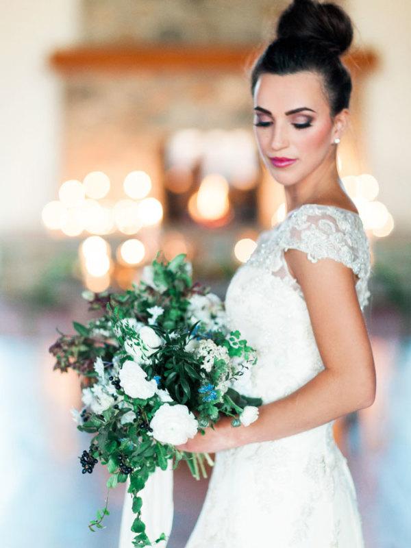 Bride in Cap Sleeve Gown