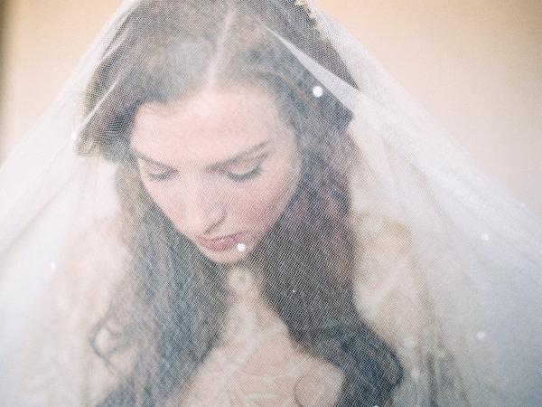 Bride in Sheer Wedding Veil