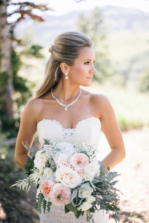 Bride in Strapless Lace Gown