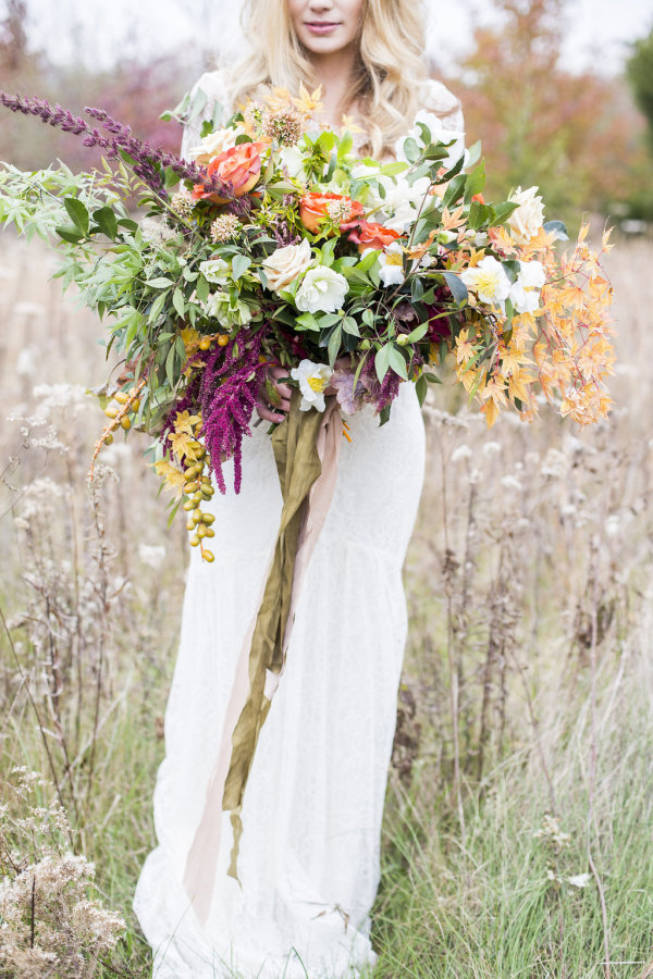 Bride with Huge Fall Bouquet