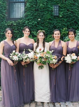 Bridesmaids in Dusty Purple