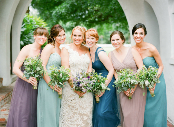 Bridesmaids in Shades of Blue and Purple