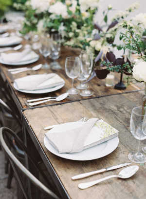 Brown and Green Wedding Table