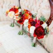 Burgundy and Orange Bouquets