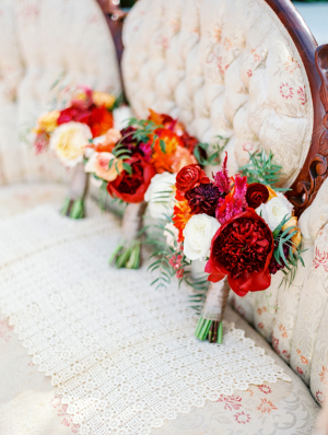 Burgundy and Orange Bouquets