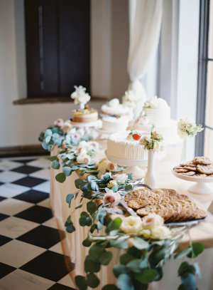 Cake Table with Greenery