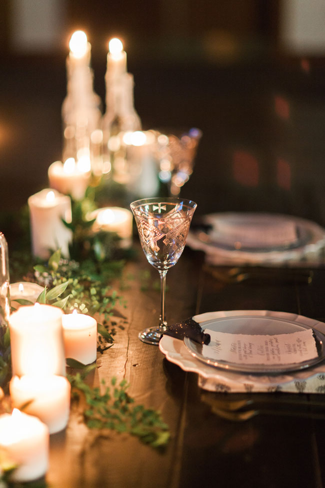 Candle and greenery centerpiece elizabeth anne designs