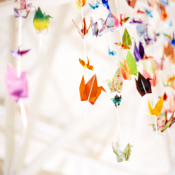 Colorful Paper Cranes at Wedding