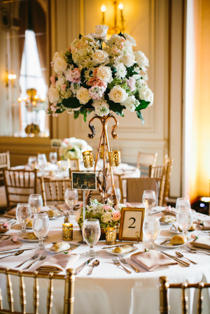 Elegant Ivory and Pink Tall Centerpiece
