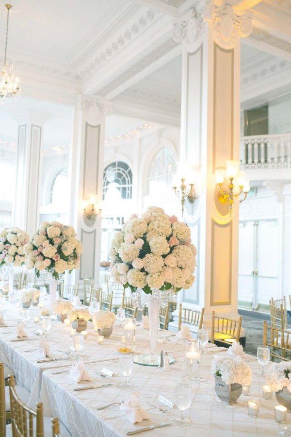 Elegant Tall White Hydrangea Centerpiece