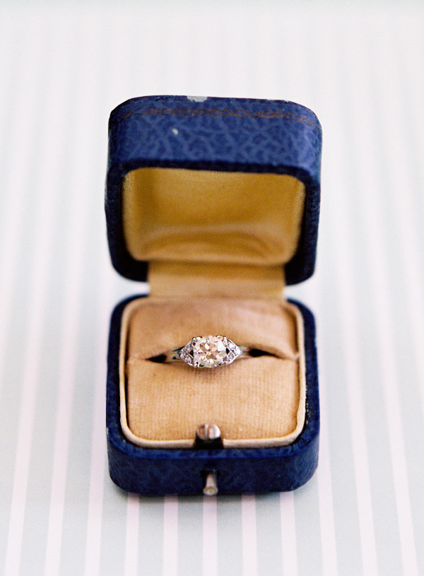engagement ring in vintage ring box elizabeth anne