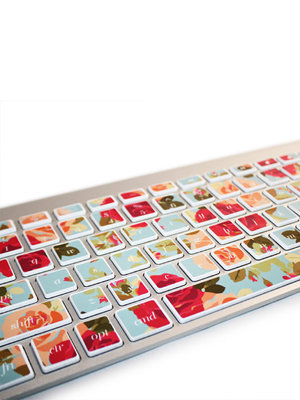 Floral Print Keyboard Decals