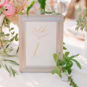 Gold Calligraphy Table Number