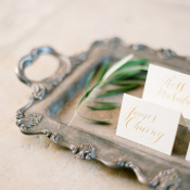 Gold Calligraphy on Escort Cards