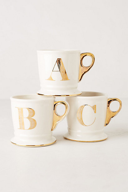 Gold Monogram Mugs