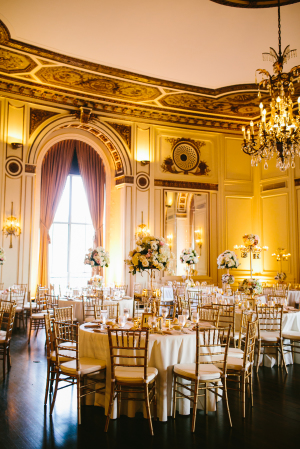 Gold and Blush Wedding Reception in Country Club