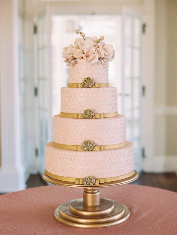 Gold and Pink Wedding Cake - Elizabeth Anne Designs: The Wedding Blog