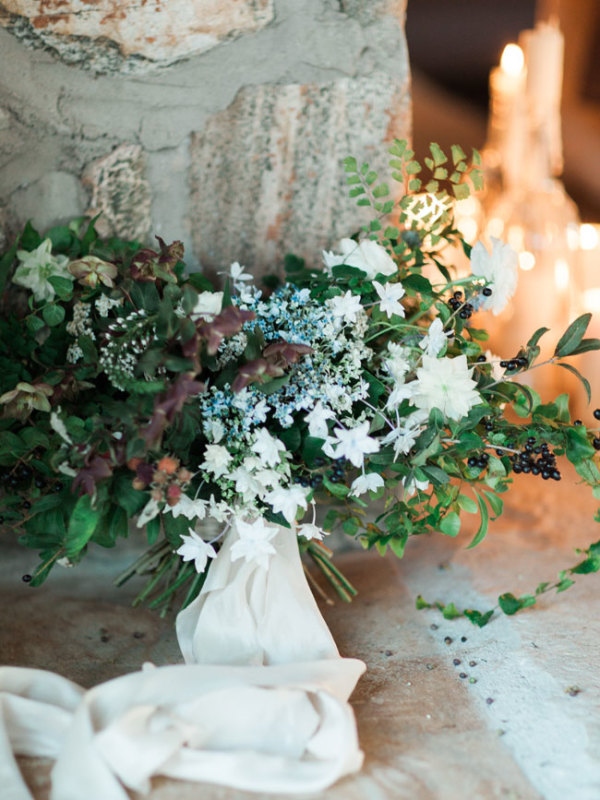 Greenery Bouquet Tied with Ribbons