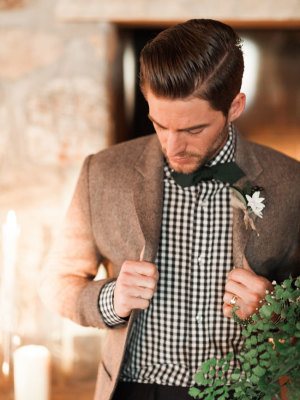 Groom in Checked Shirt
