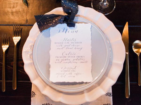 Handlettered Wedding Menu