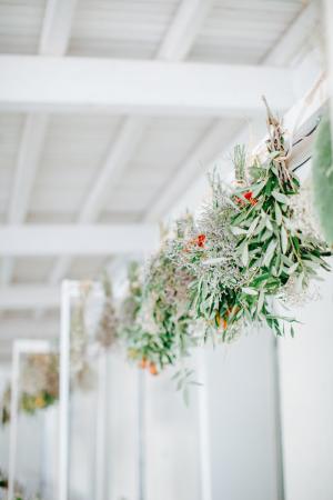 Herbs Hanging Over Centerpiece