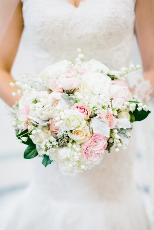 Ivory Bridal Bouquet with Pink