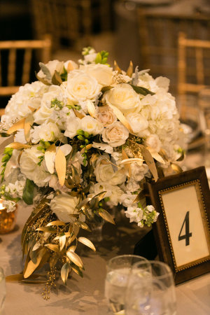 Ivory and Gold Wedding Centerpiece