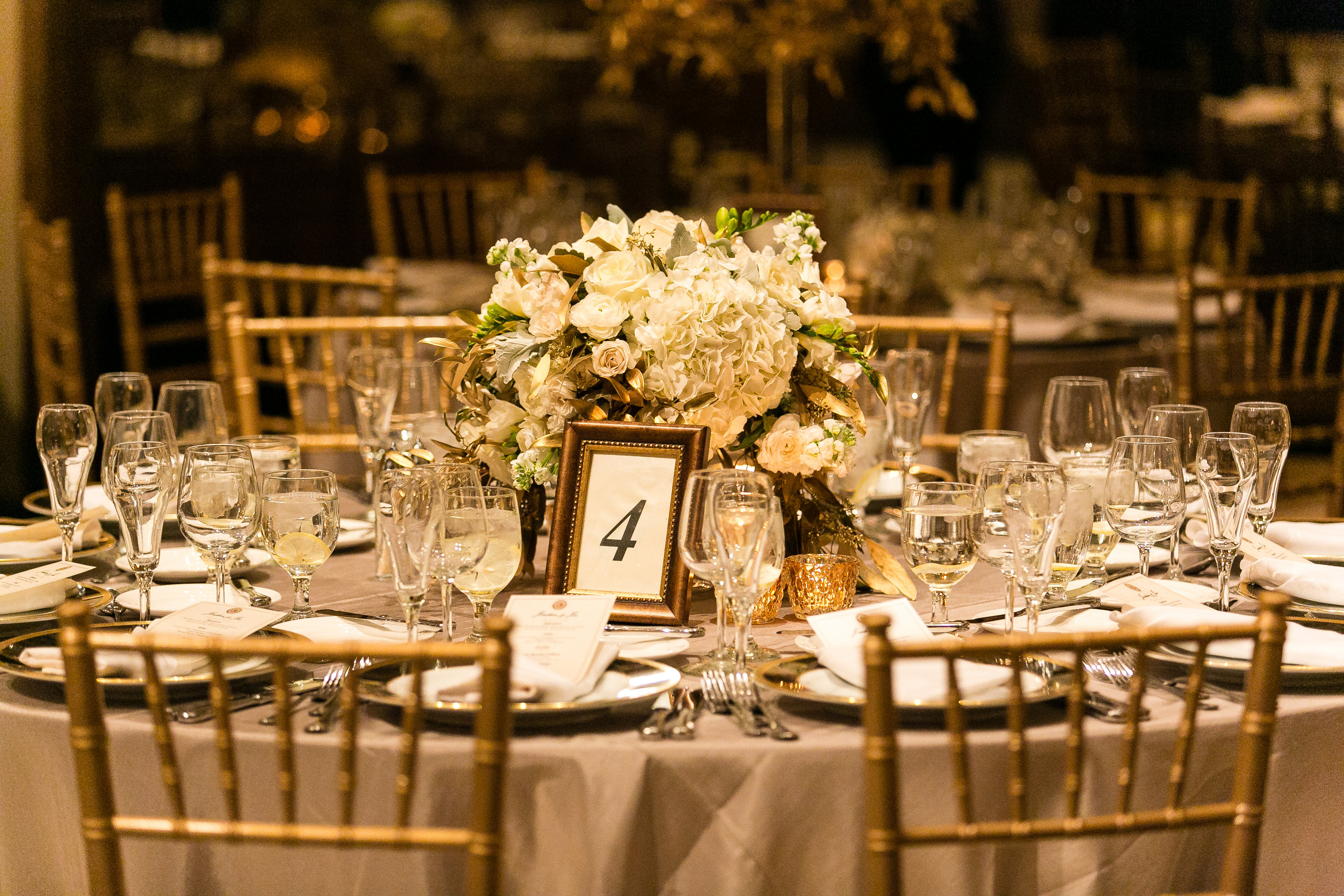 Ivory And Gold Wedding Reception Details