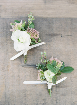 Lavender and Green Boutonnieres
