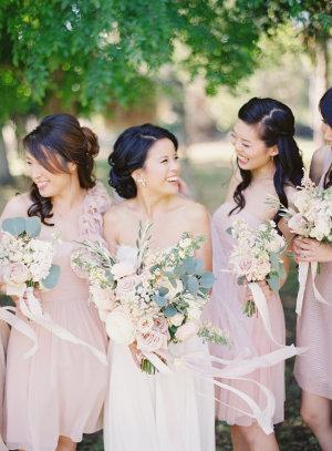 Mismatched Pale Pink Bridesmaids
