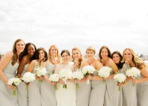 Pale Silver Bridesmaids Dresses