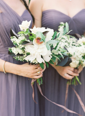Purple Bridesmaids Dresses with White Bouquets