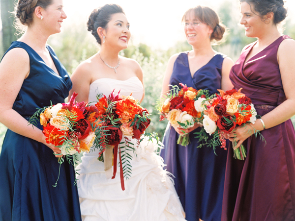 Purple and Blue Bridesmaids