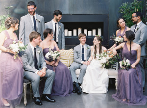 Purple and Gray Wedding Party